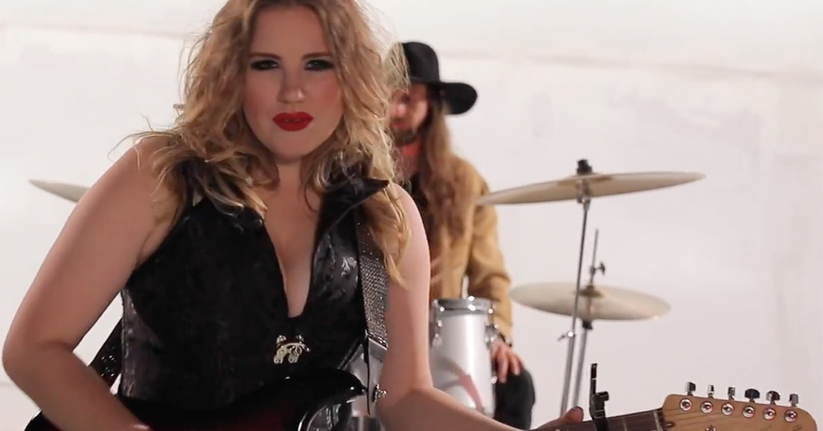 Shot of Kristen Englenz in her music video of Rebound